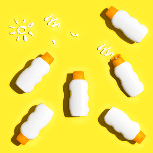 bottles of sunscreen and lotion