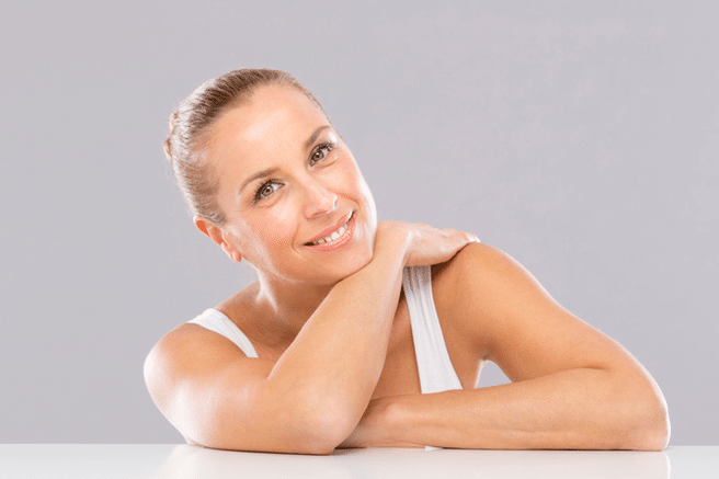 middle aged woman posing